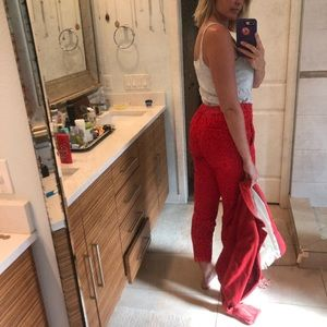 Red lace Jcrew crop pants